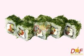 Ролл с копченым лососем и зеленью - Фото