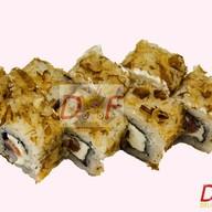 Ролл с копченым лососем и тунцом Фото