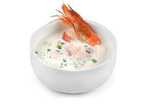Сливочный суп с тигровой креветкой - Фото
