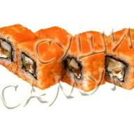 Ролл с тигровой креветкой и лососем Фото
