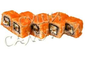 Ролл с тигровой креветкой и лососем - Фото