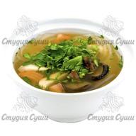 Куриный суп со стеклянной лапшой и шиита Фото