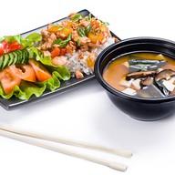 Ланч с супом и рисом Фото