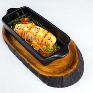 Филе семги с овощными спагетти и соусом Фото