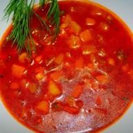 Овощной суп с красной фасолью Фото