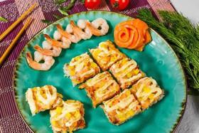 Суши-пицца с морепродуктами - Фото