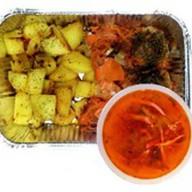 Картофель с тефтелями в соусе+суп дня Фото