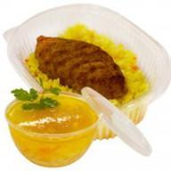 Рис отварной с куриной котлетой+суп дня Фото