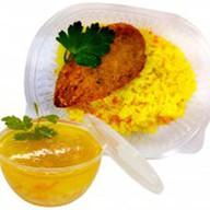 Рис отварной с рыбной котлетой+суп дня Фото