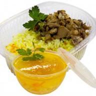 Рис отварной с грибами жареными+суп дня Фото