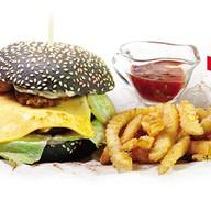 Черный папа гамбургер Фото