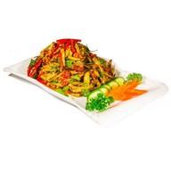 Теплый салат из жареных баклажан Фото