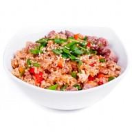 Жареный рис (тяхан) с говядиной Фото