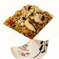 Рис с морепродуктами и овощами Фото