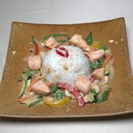 Лосось ВОК с овощами и рисом Фото