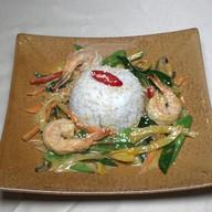 Креветки ВОК с овощами и рисом Фото