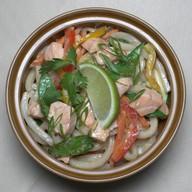 Удон с лососем в сливочном соусе Фото