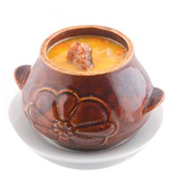 Ароматный гороховый суп с копченостями Фото