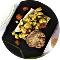 Стейк с овощами гриль Фото