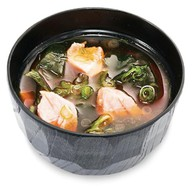 Мисо суп лапшой удон и лососем Фото