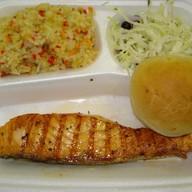 Стейк из Семги + рис с овощами Фото