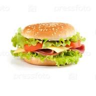 Сэндвич с ветчиной и сыром burger Фото