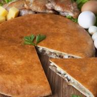 Пирог с куриным мясом и шампиньонами Фото
