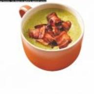 Суп из шпината и чечевицы с гренкой Фото