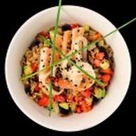 Чесночный рис с морепродуктами Фото