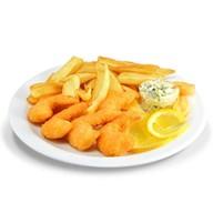Креветки с картофелем-фри Фото