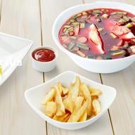 Ланч холодный борщ + шаурма + картофель Фото
