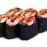 Суши запеченные под сырным соусом кальма Фото