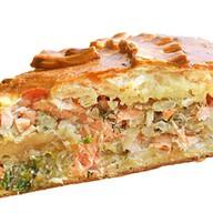 Пирог с семгой и рисом Фото