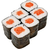 Ролл с копчёным лососем Фото