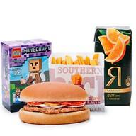 Детский обед с гамбургером Фото