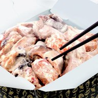 Белый рис и свинина в сливочном с Фото
