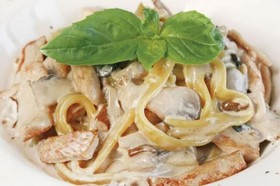 Фетучини с курицей и грибами - Фото