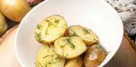 Отварной беби картофель с укропом - Фото