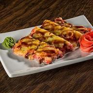Суши-пицца с копченым лососем Фото