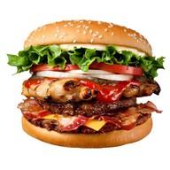 Бургер с курицей и беконом Фото