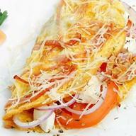 Омлет с сыром, помидорами и ветчиной Фото