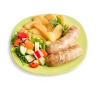 Тарелка с куриными колбасками Фото