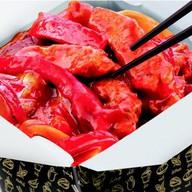 Белый рис, свинина в кисло-сладком соусе Фото