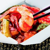 Белый рис и морепродукты терияки Фото