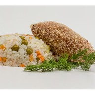Куриная котлета с рисом и овощами Фото