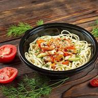 Фей хуан яичная лапша с морепродуктами Фото