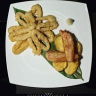 Ика темпура с овощами Фото