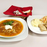 Комплексный обед с минтаем (щи) Фото